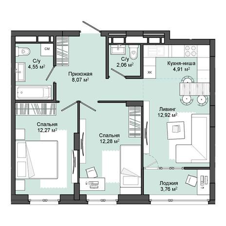 Вариант №3050, 3-комнатная квартира в жилом комплексе