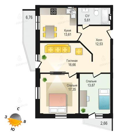 Вариант №1338, 3-комнатная квартира в жилом комплексе Крымский