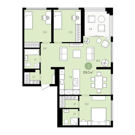 Вариант №5523, 4-комнатная квартира в жилом комплексе
