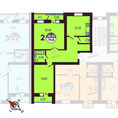 Вариант №421, 2-комнатная квартира в жилом комплексе Ключевой
