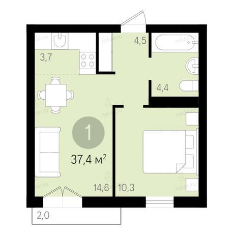 Вариант №2667, 2-комнатная квартира в жилом комплексе Дунаевский