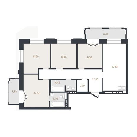 Вариант №3324, 4-комнатная квартира в жилом комплексе Нобель