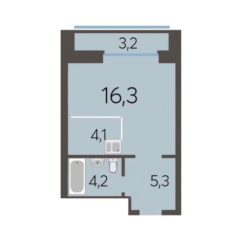 Вариант №5777, 1-комнатная квартира в жилом комплексе Чистая Слобода
