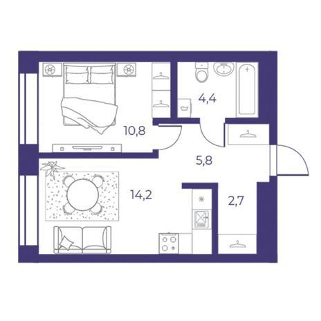 Вариант №5309, 2-комнатная квартира в жилом комплексе