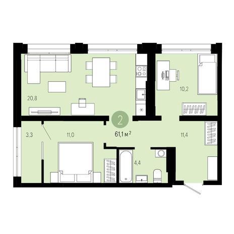 Вариант №4810, 3-комнатная квартира в жилом комплексе