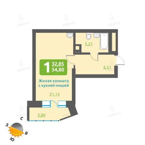 Вариант №1206, 1-комнатная квартира в жилом комплексе Марсель
