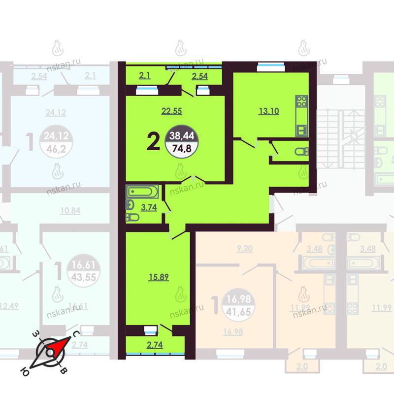 Планировка 2-комнатная площадью 74.8 м<sup>2</sup> в ЖК Ключевой
