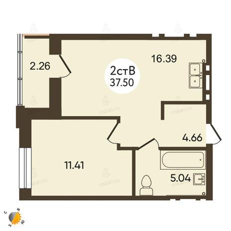 Вариант №2110, 2-комнатная квартира в жилом комплексе