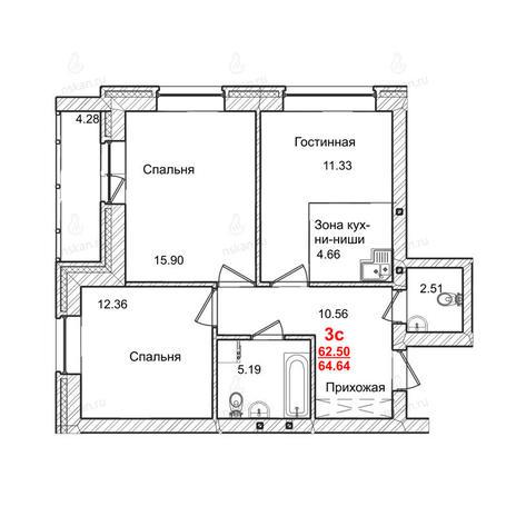 Вариант №1010, 3-комнатная квартира в жилом комплексе Маковского