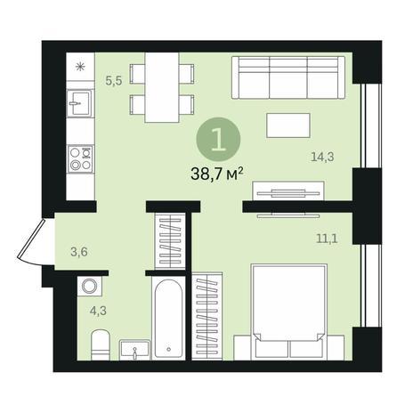 Вариант №6343, 2-комнатная квартира в жилом комплексе