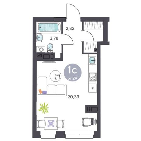 Вариант №5421, 1-комнатная квартира в жилом комплексе