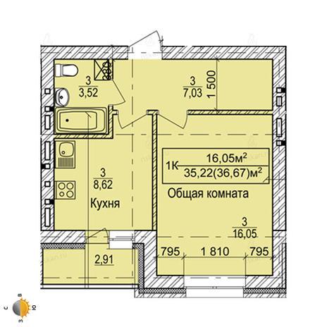 Вариант №2254, 1-комнатная квартира в жилом комплексе Дивногорский