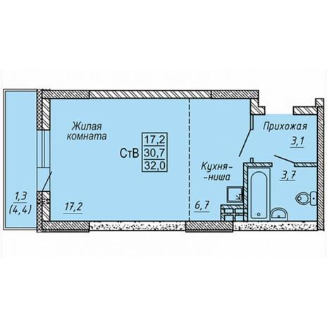 Вариант №5317, 1-комнатная квартира в жилом комплексе