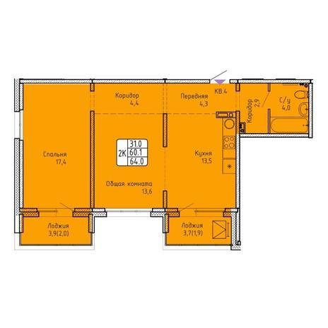 Вариант №5741, 2-комнатная квартира в жилом комплексе