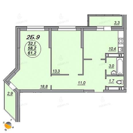 Вариант №2214, 2-комнатная квартира в жилом комплексе