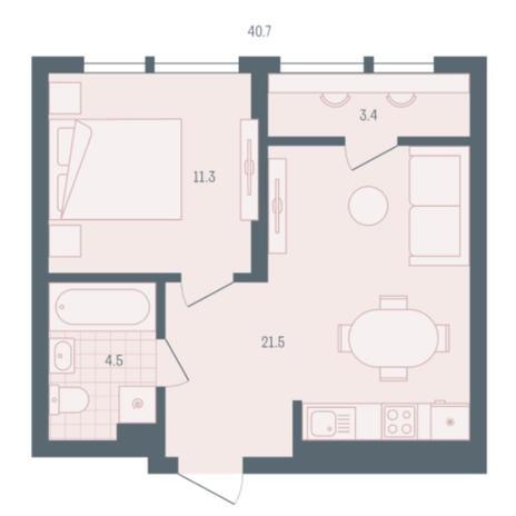 Вариант №5899, 1-комнатная квартира в жилом комплексе