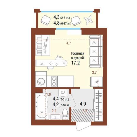 Вариант №4202, 1-комнатная квартира в жилом комплексе