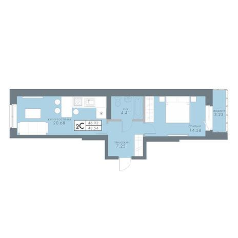 Вариант №2831, 2-комнатная квартира в жилом комплексе Традиции
