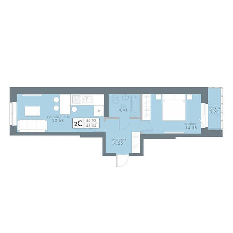 Вариант №2831, 2-комнатная квартира в жилом комплексе