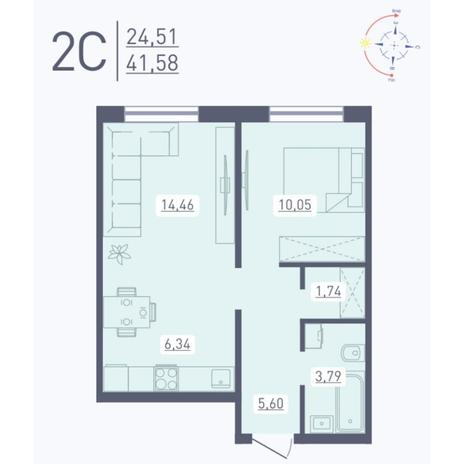 Вариант №5570, 2-комнатная квартира в жилом комплексе