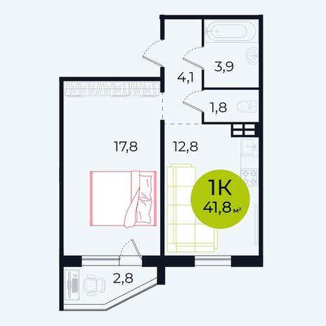 Вариант №4099, 1-комнатная квартира в жилом комплексе Весна