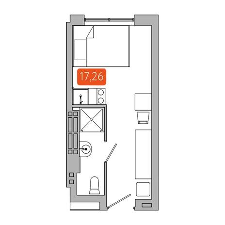 Вариант №5341, 1-комнатная квартира в жилом комплексе