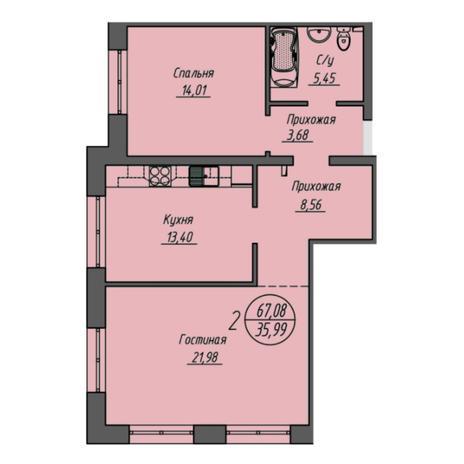 Вариант №6054, 2-комнатная квартира в жилом комплексе