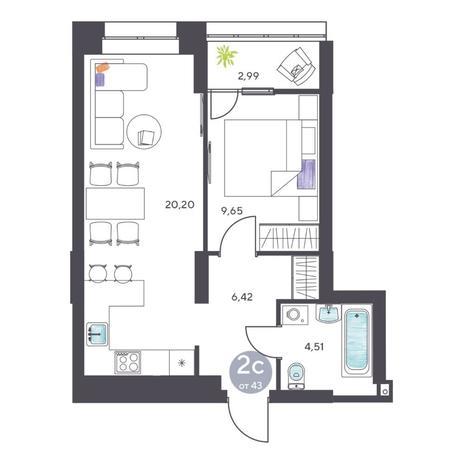 Вариант №5126, 2-комнатная квартира в жилом комплексе Ясный берег