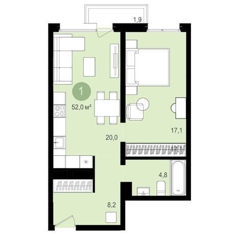 Вариант №4160, 2-комнатная квартира в жилом комплексе Авиатор
