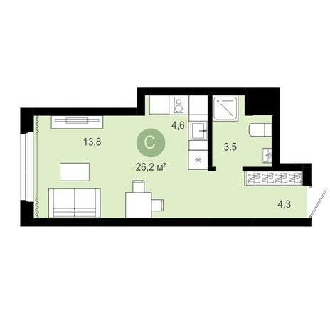 Вариант №4070, 1-комнатная квартира в жилом комплексе Европейский Берег