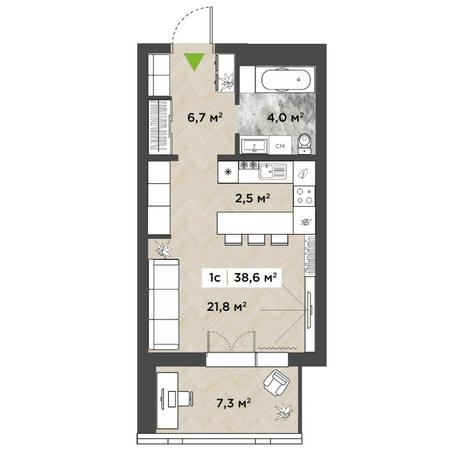 Вариант №5855, 1-комнатная квартира в жилом комплексе