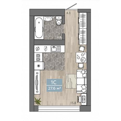 Вариант №4534, 1-комнатная квартира в жилом комплексе