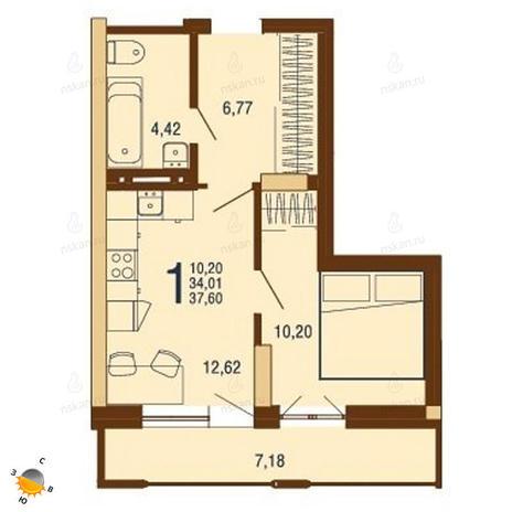 Вариант №1818, 1-комнатная квартира в жилом комплексе На Доватора