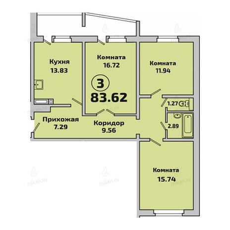 Вариант №2846, 3-комнатная квартира в жилом комплексе Родники