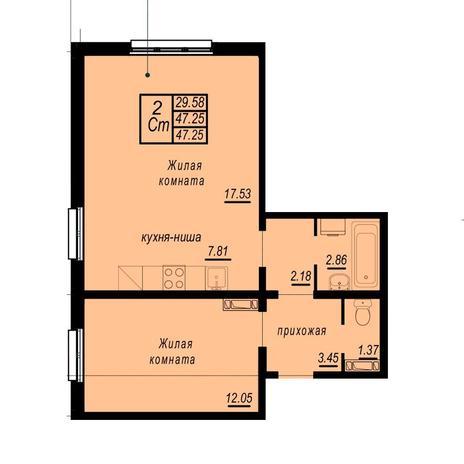 Вариант №4937, 2-комнатная квартира в жилом комплексе