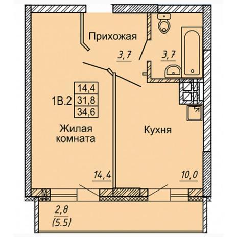 Вариант №4974, 1-комнатная квартира в жилом комплексе