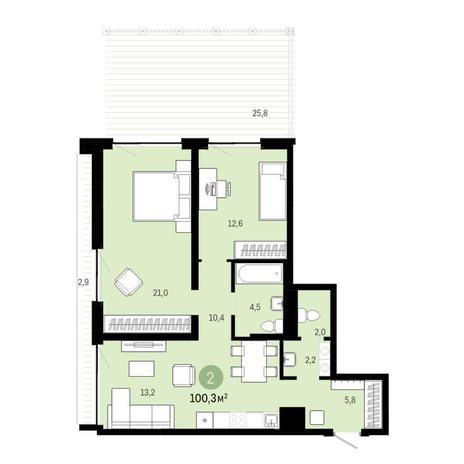 Вариант №6391, 3-комнатная квартира в жилом комплексе