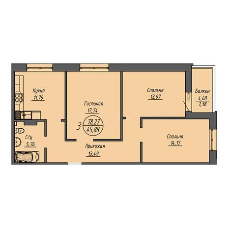 Вариант №3198, 3-комнатная квартира в жилом комплексе