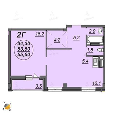 Вариант №2349, 2-комнатная квартира в жилом комплексе Аэропорт