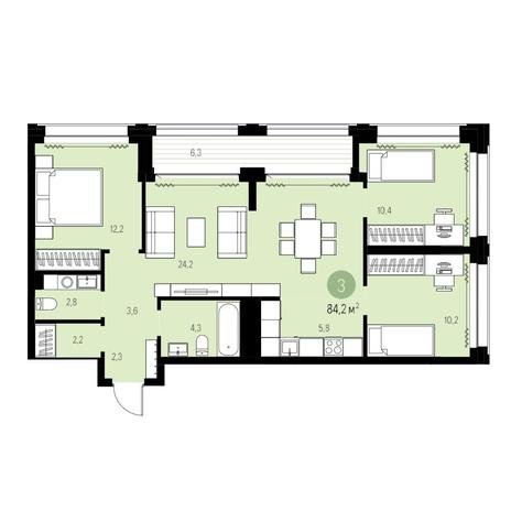 Вариант №5436, 4-комнатная квартира в жилом комплексе
