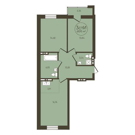 Вариант №3616, 3-комнатная квартира в жилом комплексе