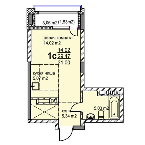 Вариант №5766, 1-комнатная квартира в жилом комплексе Венеция