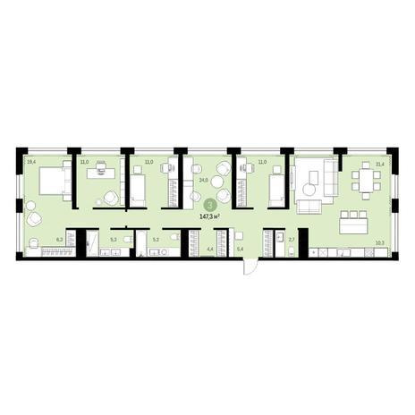 Вариант №6330, 6-комнатная квартира в жилом комплексе
