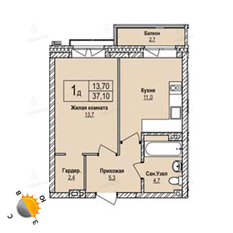 Вариант №1234, 1-комнатная квартира в жилом комплексе