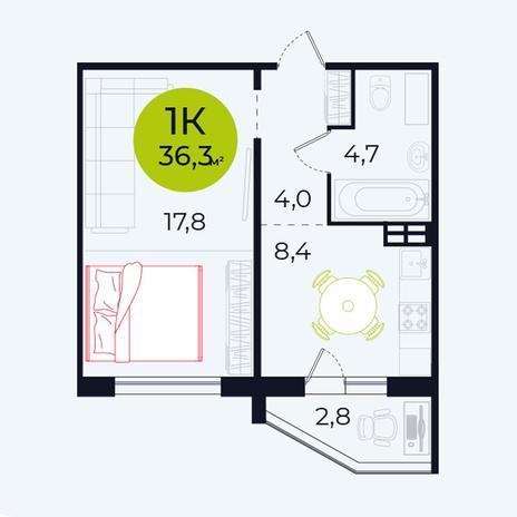 Вариант №4100, 1-комнатная квартира в жилом комплексе Родники