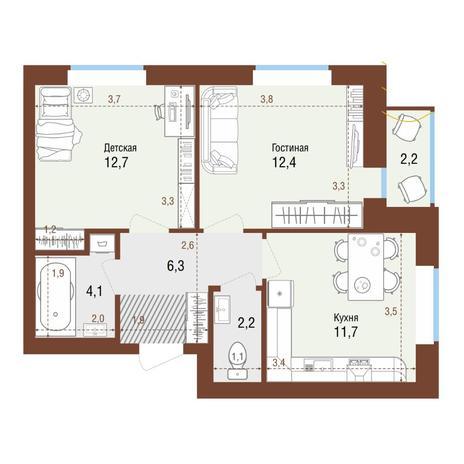 Вариант №4225, 2-комнатная квартира в жилом комплексе Аквамарин