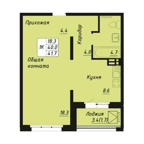 Вариант №5272, 1-комнатная квартира в жилом комплексе Пшеница