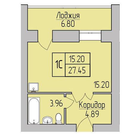 Вариант №3848, 1-комнатная квартира в жилом комплексе