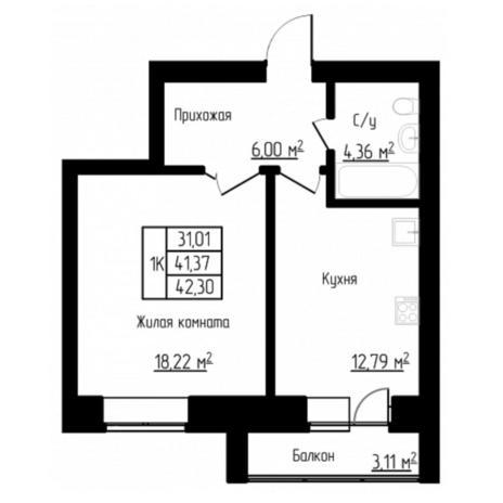 Вариант №4529, 1-комнатная квартира в жилом комплексе Енисей