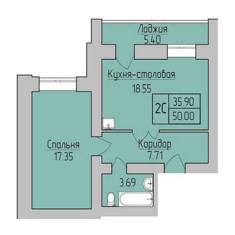 Вариант №3836, 2-комнатная квартира в жилом комплексе Ясный берег